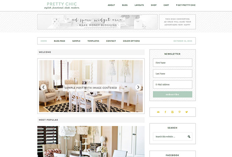 pretty chic blog theme